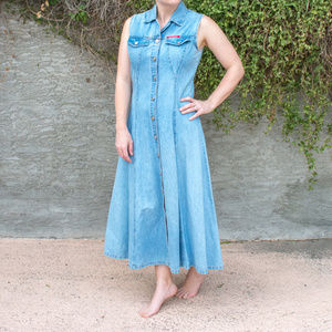 Vintage No Excuses Long Denim Sleeveless Dress